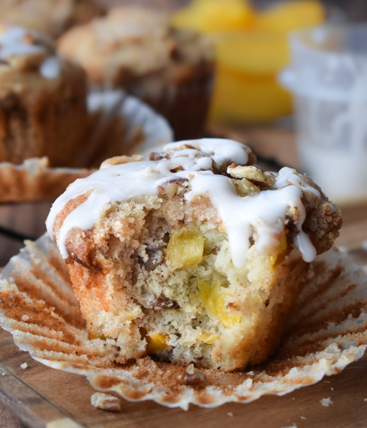 Peach Muffin with a bite out of it