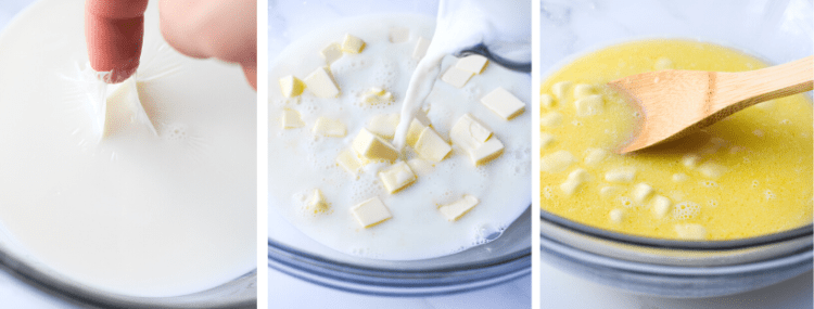 Photos of how to make kolaches; scalded milk, milk melting the butter, and wooden spoon stirring milk