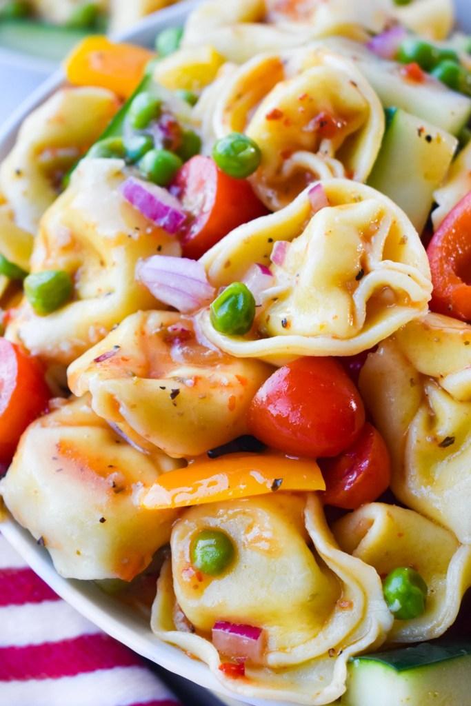 tortellini pasta salad close up