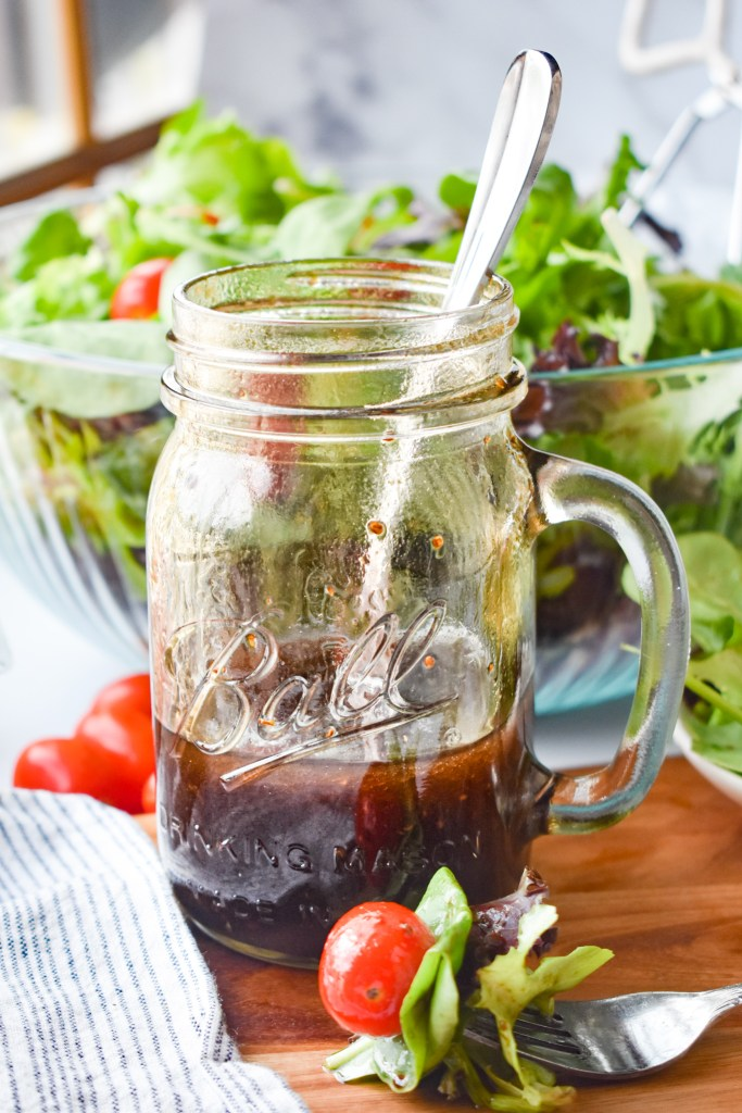 Jar with Balsamic Vinaigrette in it