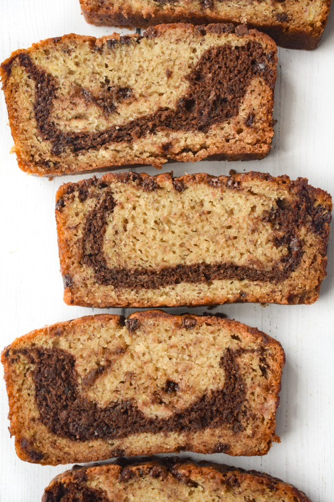 Marbled chocolate chip banana bread sliced