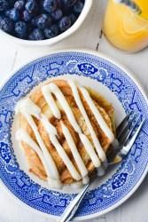 Cinnamon Roll Pancakes on a plate