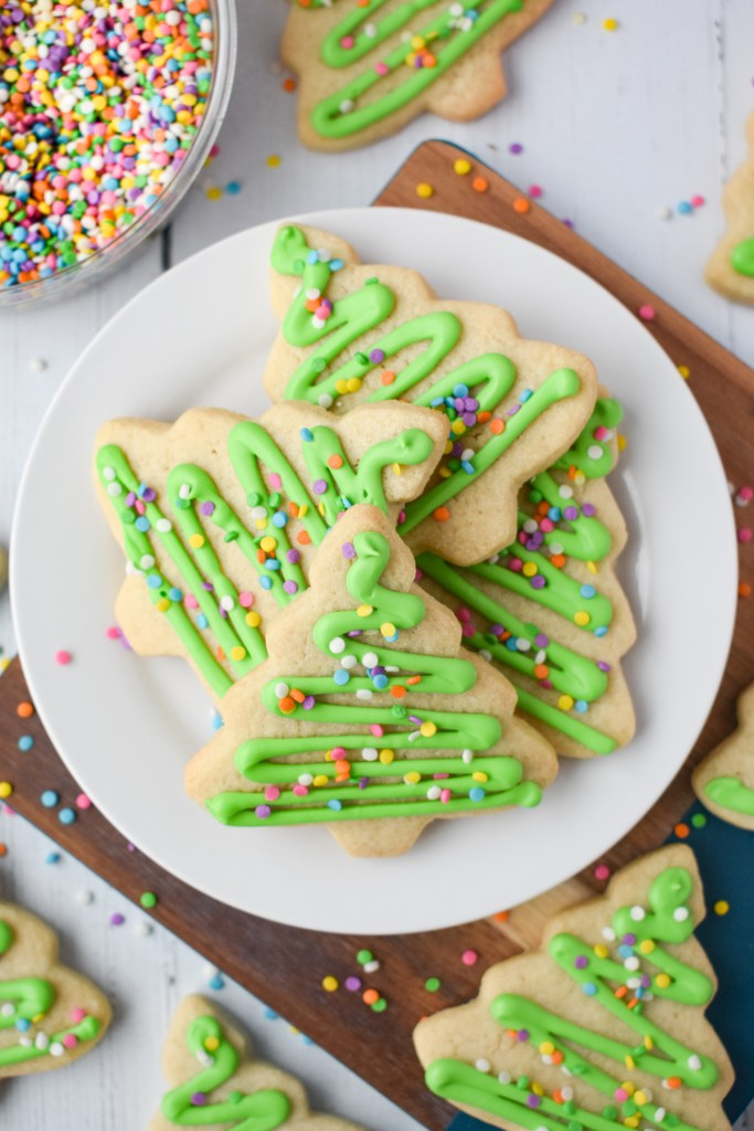 Cut-Out Sugar Cookies on a white plate