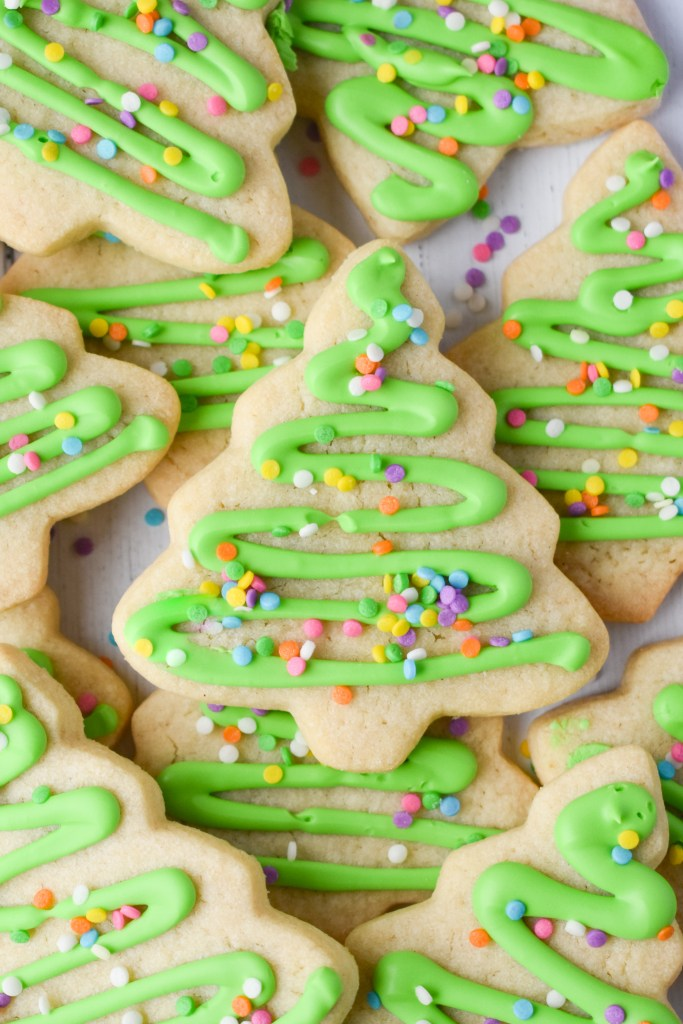 Cut-Out Sugar Cookie Christmas Trees with Green Frosting
