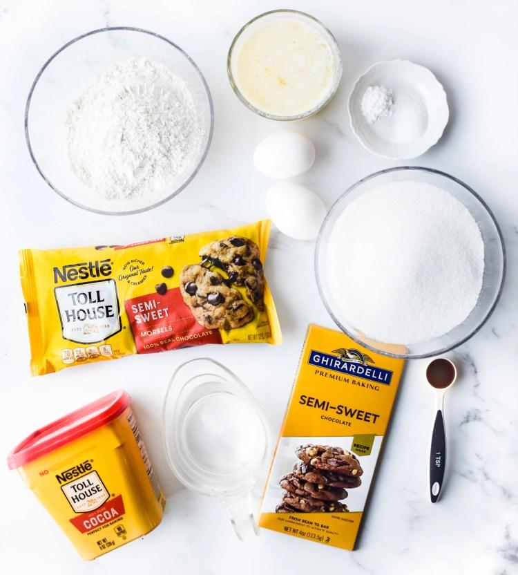 ingredients needed to make homemade brownies