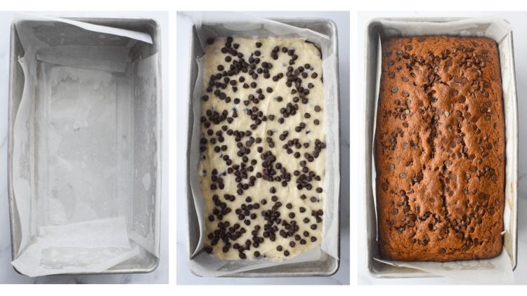 Three photos showing the banana bread process.