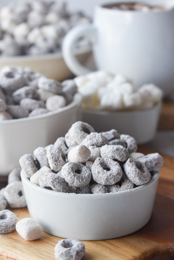Hot Chocolate Snack Mix in a white bowl