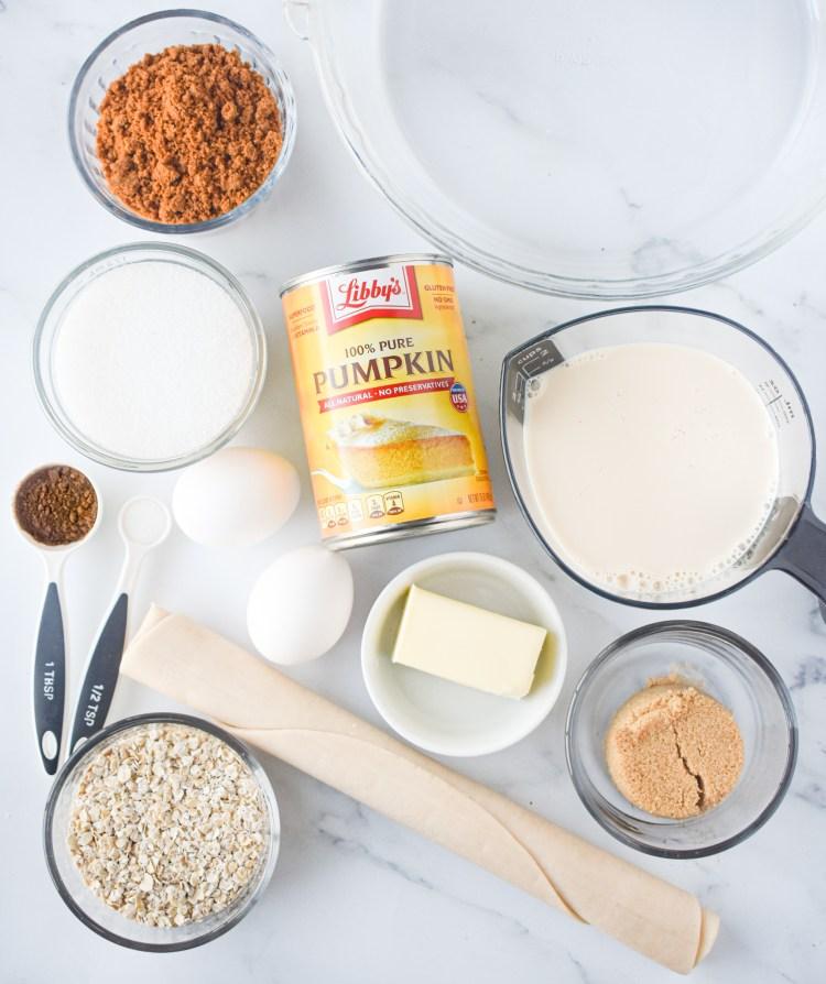 Pumpkin Streusel Pie ingredients on a counter