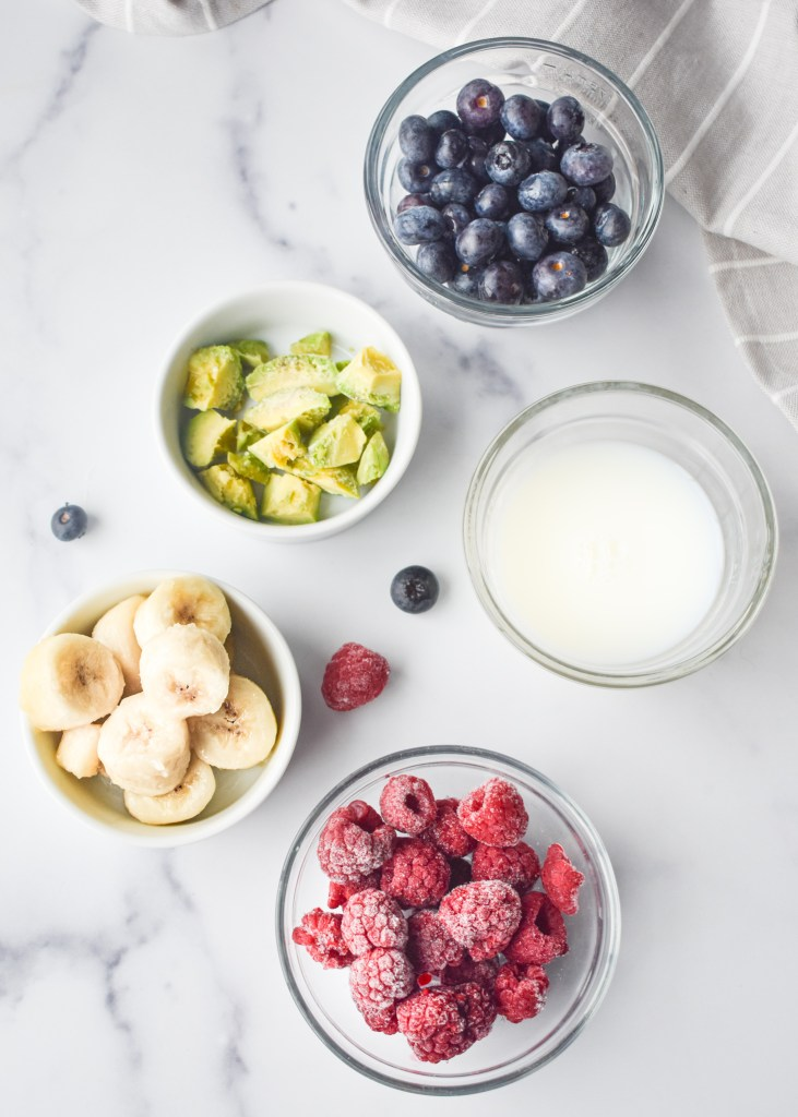 Ingredients for Blueberry Avocado Smoothie