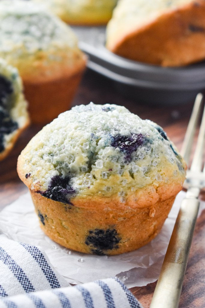 Close-up of a Blueberry Muffin on parchment paper
