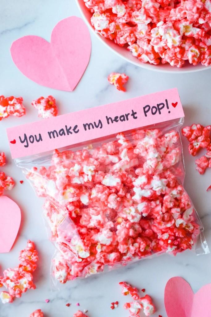 Cinnamon Popcorn in a plastic baggie for Valentine's Day