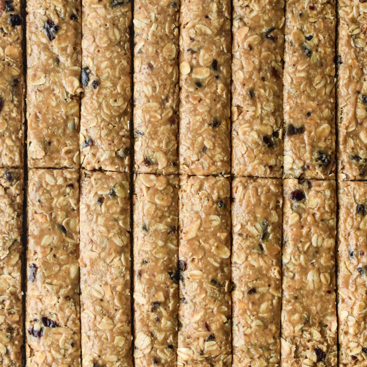 Chewy Granola Bars cut into rectangles