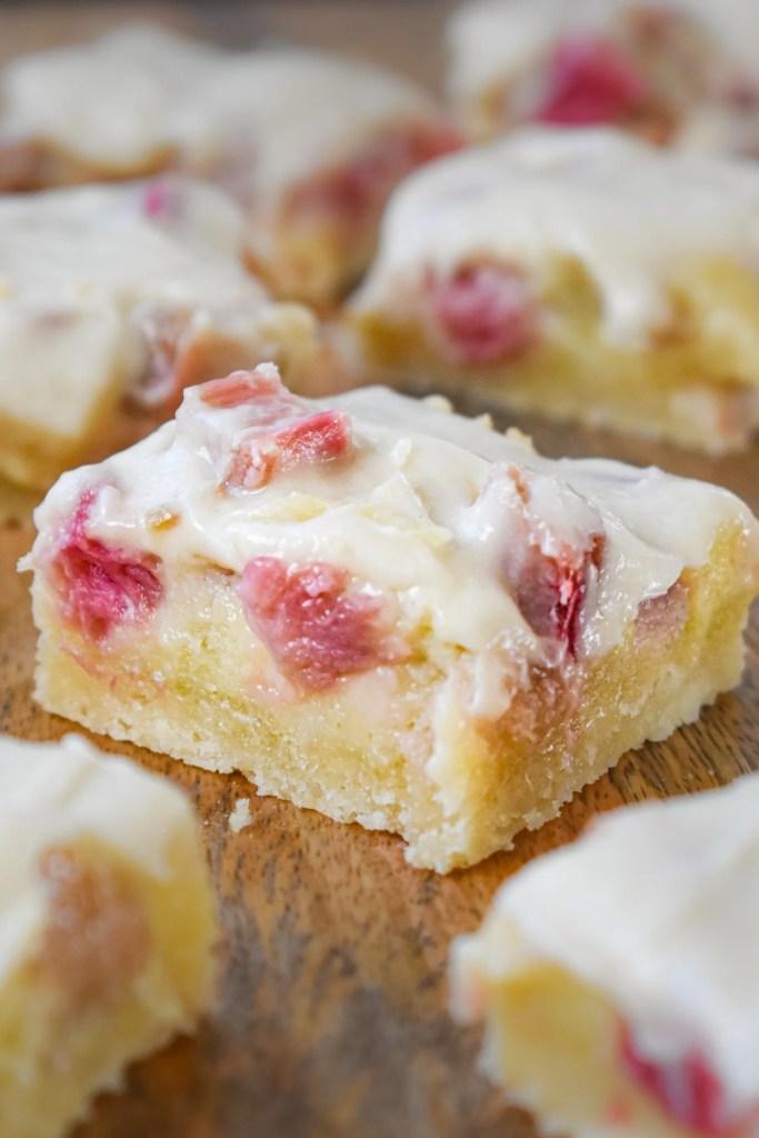 Rhubarb Custard Bar on a tray