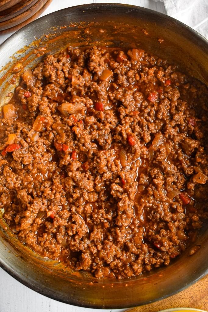 pan full of homemade sloppy joe meat