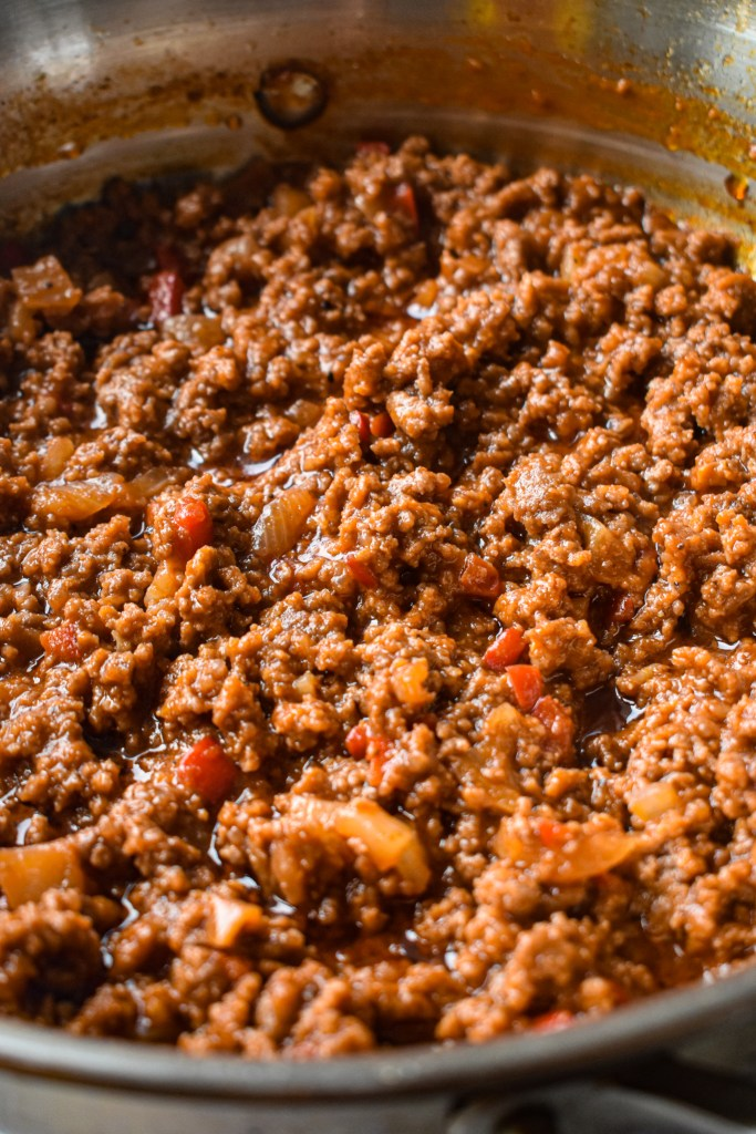 pan with sloppy joe meat