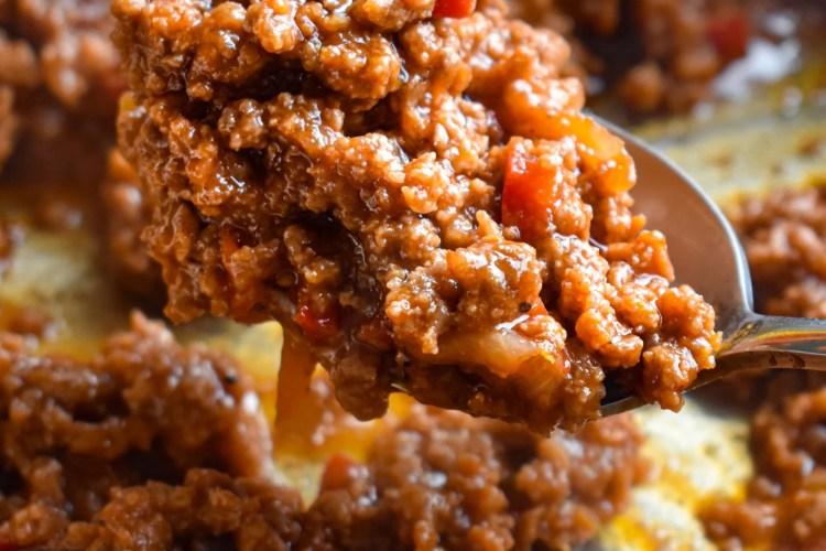 A scoop of sloppy joe meat
