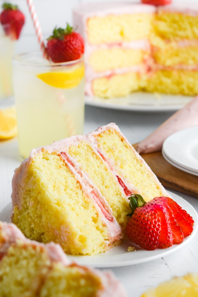 strawberry lemonade cake on a plate