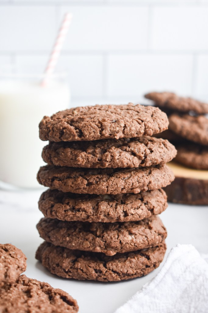 chocolate oatmeal cookies in a stack