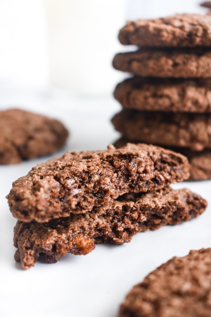 chocolate oatmeal cookie broken in half