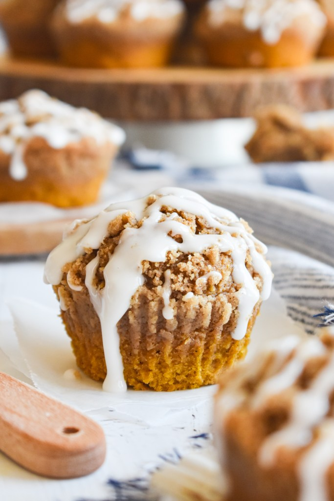 pumpkin muffin on a piece of parchment paper