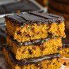 stack of chocolate chip pumpkin bars