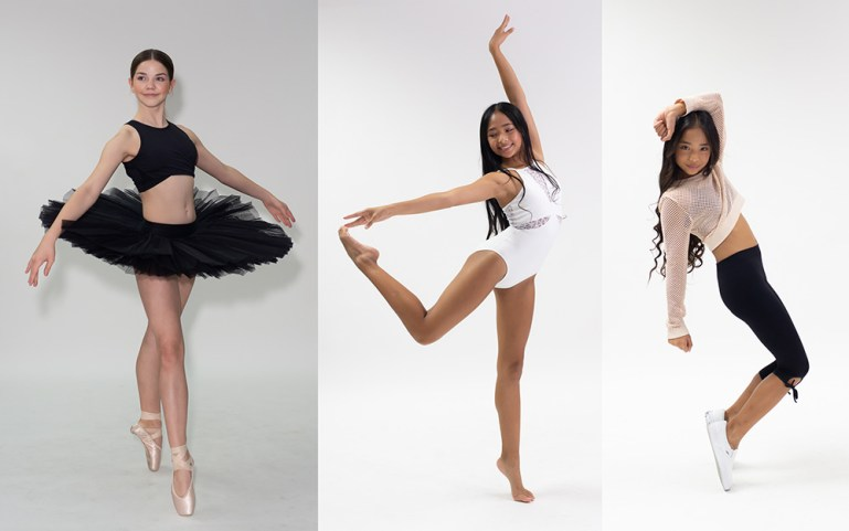 Three Nathalie & Co Dancewear brand ambassadors posing for photos in a black tutu, a white leotard, and in leggings and dance sneakers.