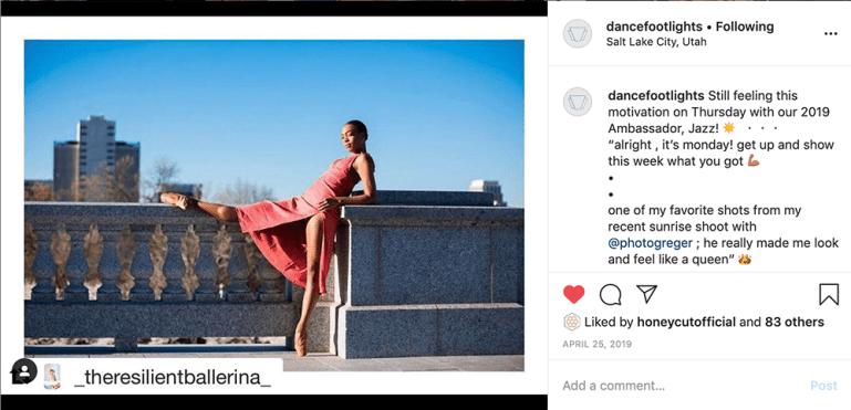 Instagram post with Footlights Dance & Theatre Boutique brand ambassador Jazz Bynum