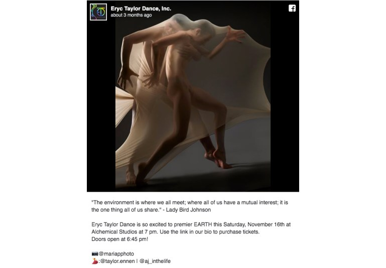 Instagram post of Eryc Taylor Dance, Inc. with two dancers stretching cloth over their bodies as they dance