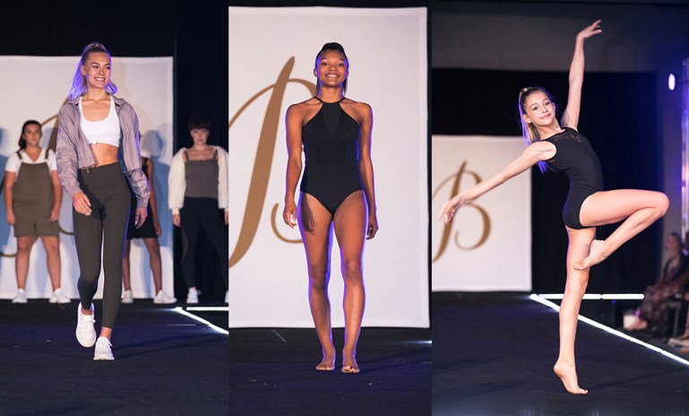 Three dancer models move down the runway at Bellissimo Dance Boutique's 2019 fashion show.