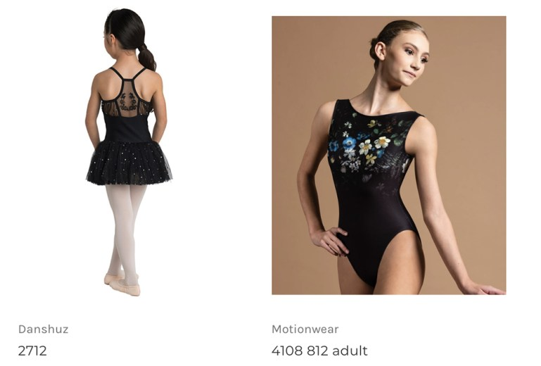 Two items from the online sales pages of Attitude Dance Boutique showing fashion leotards