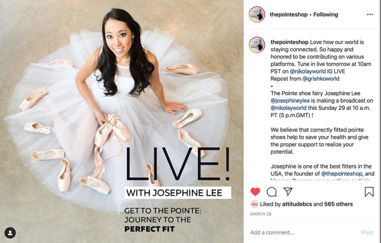 Instagram post showing Josephine Lee, owner of The Pointe Shop, going live with a Nikolay pointe shoe fitting session