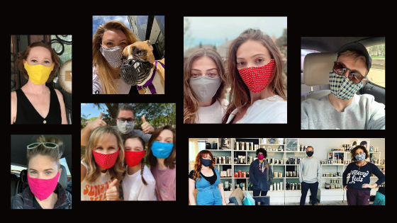Group of photos of people wearing masks made by Artistic Dance Designs.