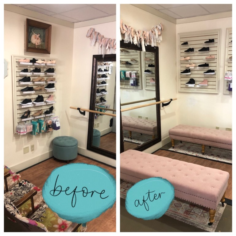 Before and after photos of a shoe-fitting area in a dance store. On left, theater seats; on right, two pink benches.