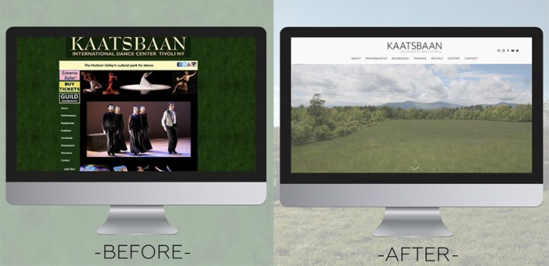 Side by side images of Kaatsbaan's old website design, which was dark green and of an outdated style, and their sleek, light new design