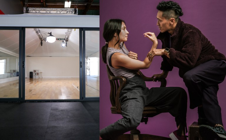 At left: the Building Block studio, which is in side a large gym space with its own roof and floor. At right, Keone and Mari pose against a purple backdrop, Mari sitting in a chair and Keone standing on a box beside her