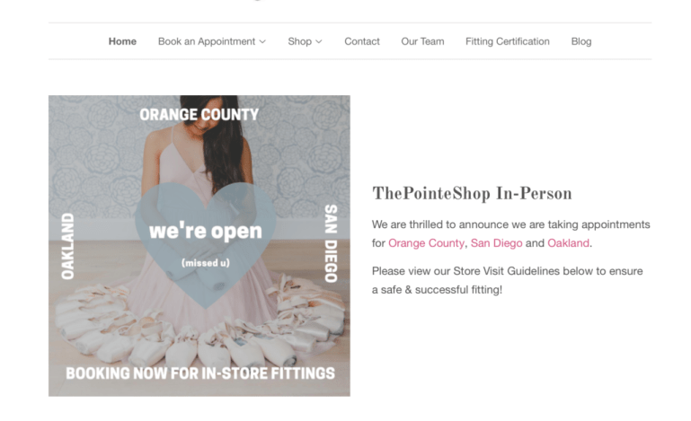 Graphic showing that the Pointe Shop is open for in-person fittings, with woman and pointe shoes surrounding her.