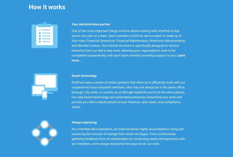 """A screenshot from the ArtsPool website, showing white text on a light blue background. The text says """"How it works"""" and then has paragraphs with subheadings """"Your administrative partner,"""" """"Smart technology,"""" and """"Always improving"""""""