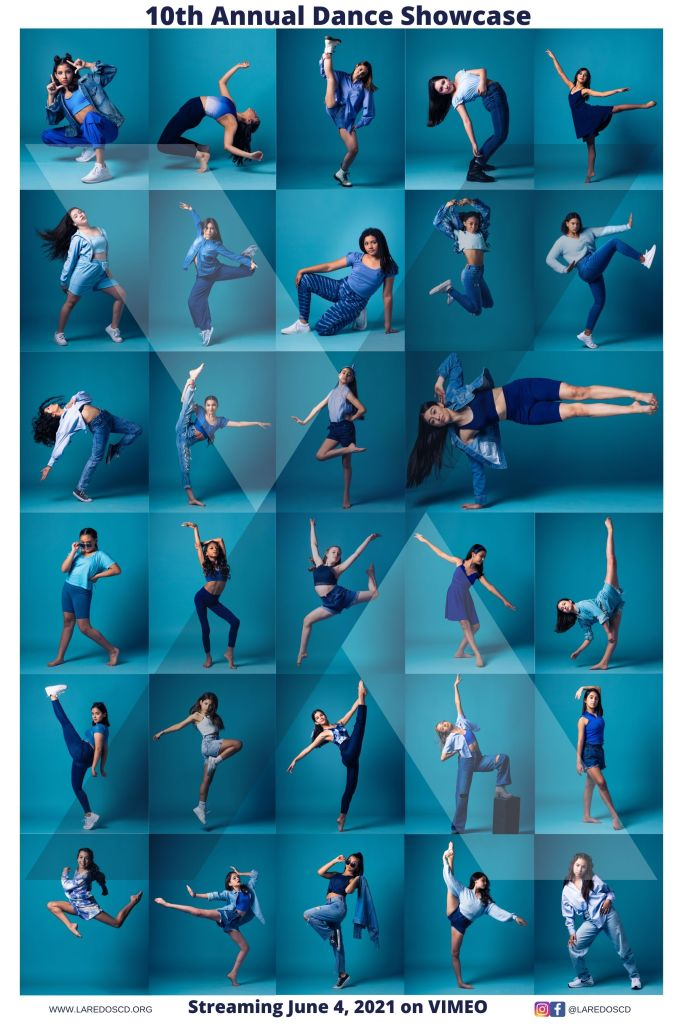A collage of around 30 individual photos of high-school aged seniors. They all strike different poses and wear shades of blue, against a geometric blue background.