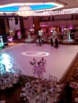 large wedding gobo on white dance floor