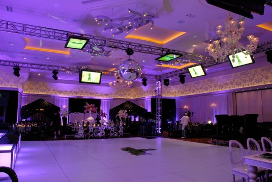 sticker logo on white dance floor