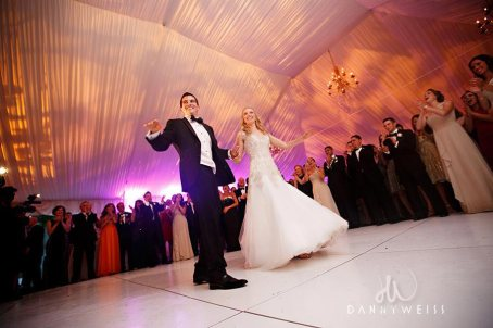 Tower Wedding white dance floor rental