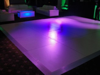 white dance floor rental taped edges