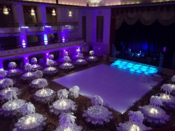 color change on white dance floor