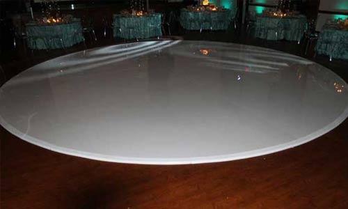 white glossy round dance floor