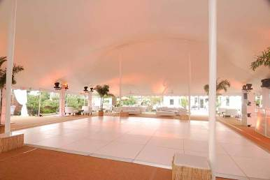White Dance Floor under large tent