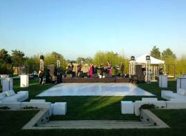 outdoor dance floor on grass