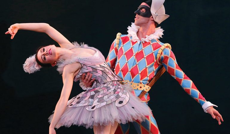 American Ballet Theatre's Isabella Boylston (Columbine) and  James Whiteside (Harlequin) in Alexei Ratmansky's Harlequinade Photo: Marty Sohl
