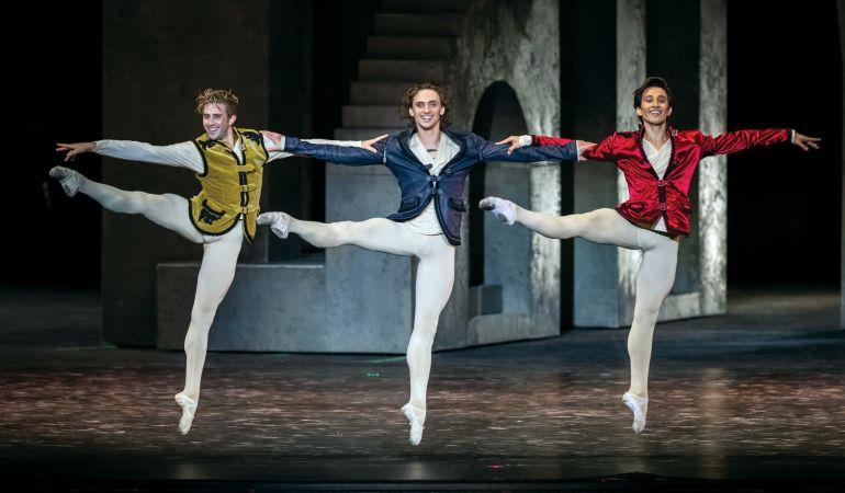 Giorgio Garrett (Benvolio), Sergei Polunin (Romeo) and Valentino Zucchetti (Mercutio) in Johan Kobborg's Romeo and Juliet Photo: Luca Vantusso