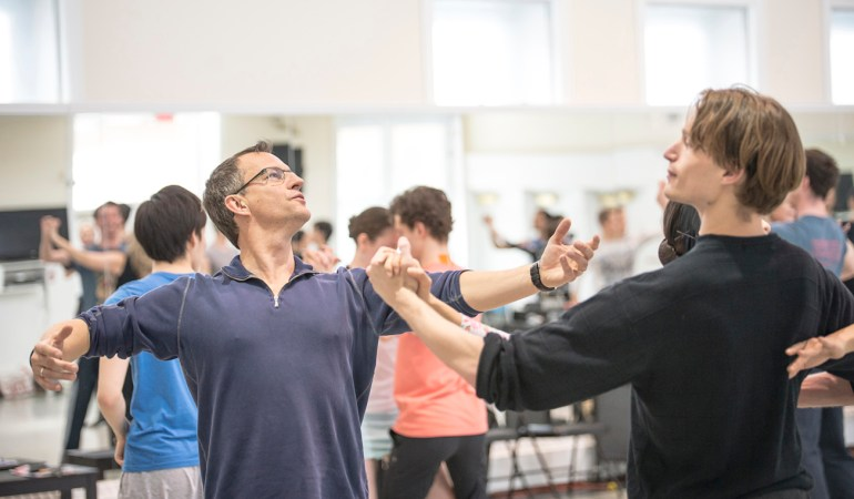 Jean Grand-Maître, Colby Parsons and Alberta Ballet company artists in rehearsal for Class Acts | Photo: Maximillian Tortoriello