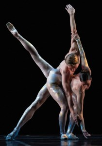 Amanda Green and Tristan Dobrowney in Royal Winnipeg Ballet's production of Peter Quanz'sLuminous Photo: Bruce Monk